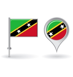 Saint Kitts and Nevis pin icon map pointer flag vector