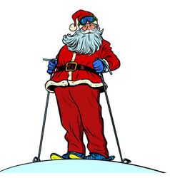 santa claus character on snow mountain merry vector image