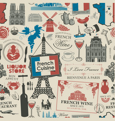 Seamless pattern on theme french cuisine vector