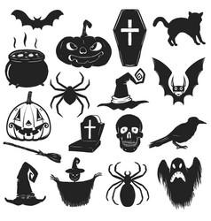 set halloween icons trick or treat halloween vector image