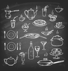 set hand-drawn sketches on a chalkboard vector image