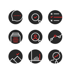 Set of round assessment and report logo vector