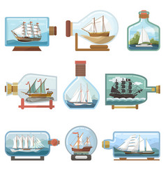 ship in bottle boat in miniature sailboat vector image