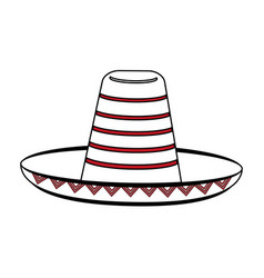 Sketch color silhouette mexican hat accesory vector