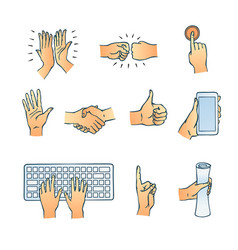 sketch hands gesturing set vector image