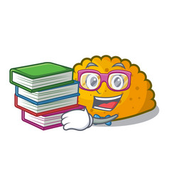 student with book homemade patties on the table vector image