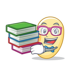 Student with book soy bean mascot cartoon vector