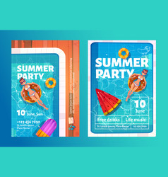 summer party cartoon flyers with woman in pool vector image