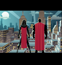 superhero couple watch night vector image
