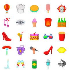 Talk show icons set cartoon style vector