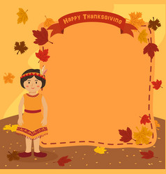 thanksgiving indian girl notes background vector image