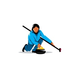 The game curling sign vector