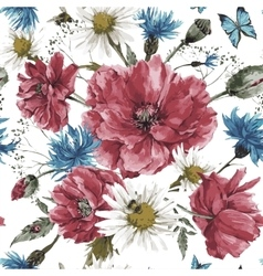 vintage watercolor bouquet wildflowers shabby vector image