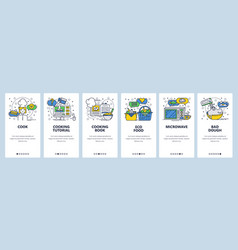 web site onboarding screens cooking book and vector image