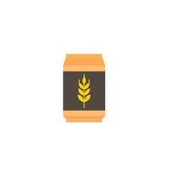 Wheat flour bag icon flat design vector