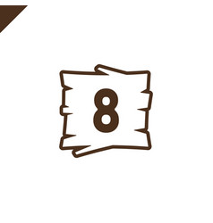 Wooden alphabet blocks with number 8 in wood vector