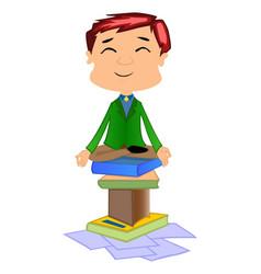 working man doing meditation vector image