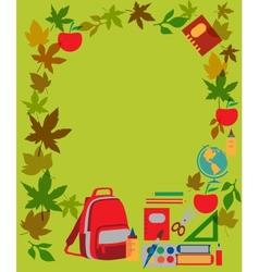 Back to school School supplies on green vector image