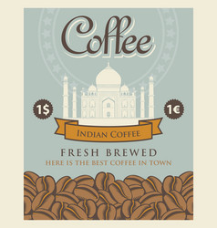banner with coffee beans and taj mahal in india vector image vector image