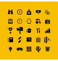 Black flat icons set business object office tools vector