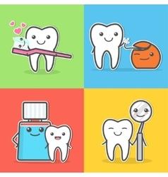 Cartoon teeth care and hygiene vector image vector image