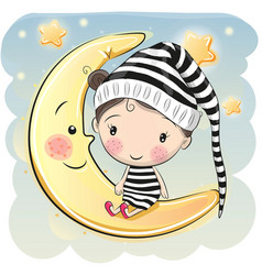 girl is sitting on the moon vector image