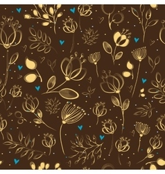 Graceful Golden Flowers Brown Seamless Pattern vector image vector image