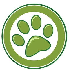 Green Paw Print Banner vector image