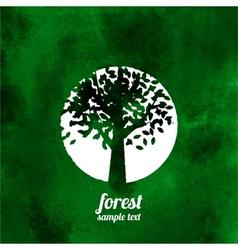 Green tree watercolor vector image