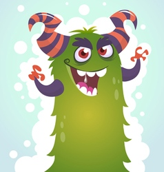 Happy cartoon green and fluffy horned monster vector image