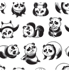 seamless pattern with cartoon pandas in vector image