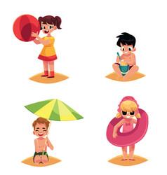 babies kids children on the beach sea summer vector image vector image