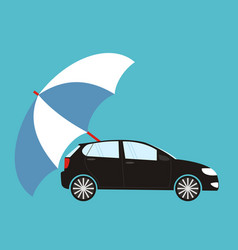 Blue umbrella protecting car flat style safety vector