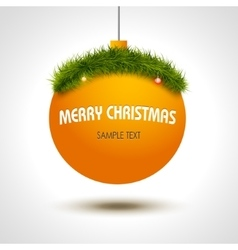Christmas ball background with xmas tree vector image vector image