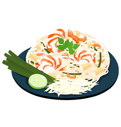 fried noodles popular thai food vector image vector image