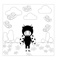 Kid in ladybug dress coloring page vector image vector image