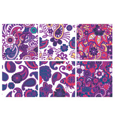 paisley seamless colorful patterns vector image
