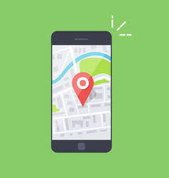 smartphone with navigation app and red pin vector image vector image