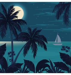 Tropical ocean landscape with palm trees vector image