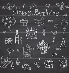 Birthday elements hand drawn set with birthday vector