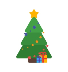 Christmas tree flat with gifts and garland vector image vector image