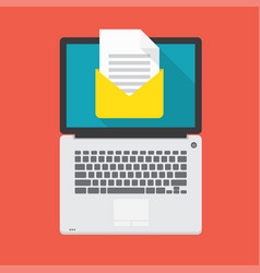 laptop with open email message on the screen vector image vector image
