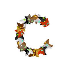 Letter c cat font pet alphabet symbol home animal vector