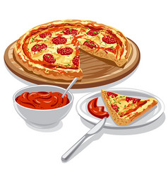 pizza with tomato sauce vector image