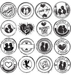 set of love stamps vector image vector image