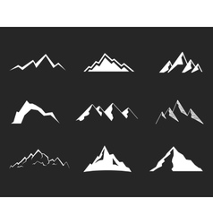 Set of mountain silhouette elements Outdoor icon vector image