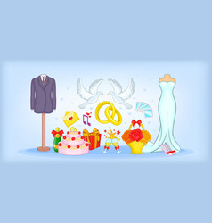 wedding horizontal banner cartoon style vector image