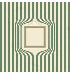 Wooden frame on striped wallpaper vector image