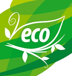 Abstract eco logo with floral patterns vector image vector image