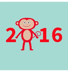 Cute monkey new year 2016 baby greeting card blue vector